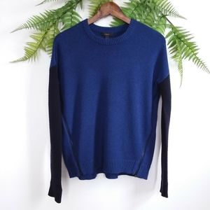 J. Crew Color Block 100% Wool Crewneck Sweater